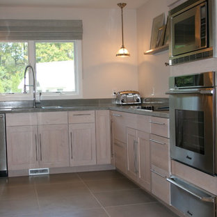 Pickled Oak Kitchen Cabinets Grey Tile F Houzz