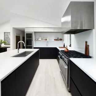 Mid Sized Modern Open Concept Kitchen Pictures Minimalist U Shaped