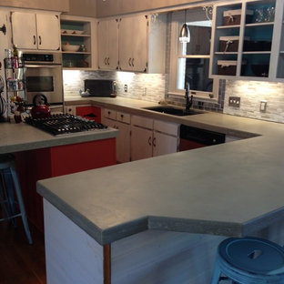 East Texas Remodel, Great Room, Kitchen, Concrete Countertops, Recycled Glass