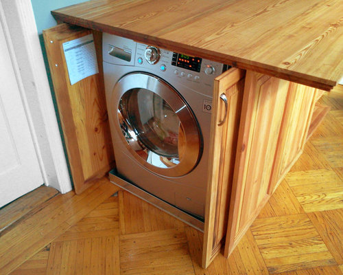 Disguised washer and dryer houzz for Under cabinet washer and dryer