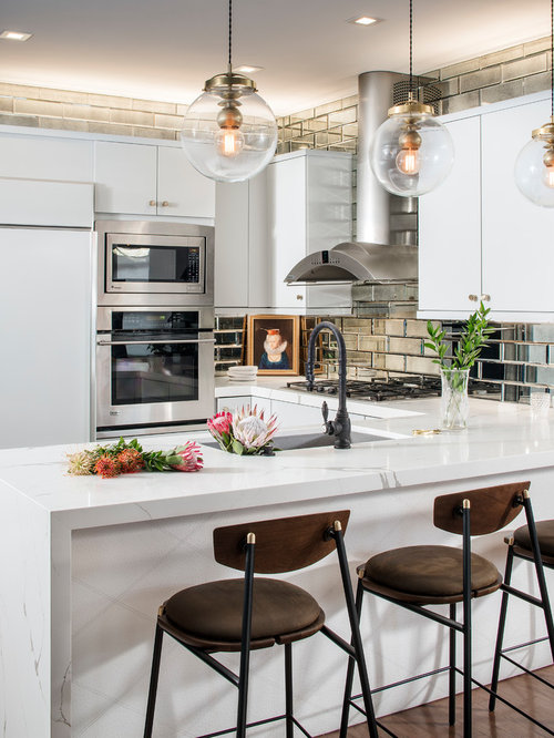 Mid Sized Eclectic Kitchen Inspiration   Mid Sized Eclectic U Shaped Medium  Tone