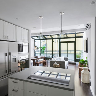 Design ideas for a mid-sized modern single-wall open plan kitchen in New York with white cabinets, stainless steel appliances, shaker cabinets, concrete benchtops, dark hardwood floors, with island and brown floor.