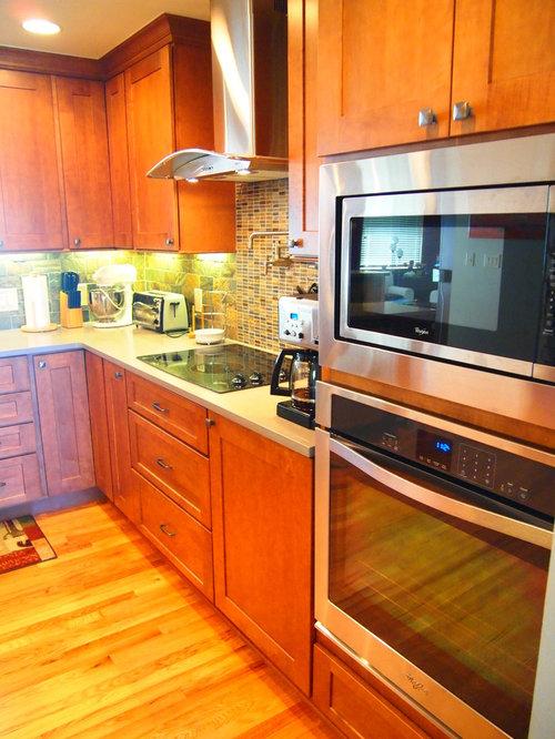 Orange kitchen with brown cabinets design ideas pictures for Brown and orange kitchen ideas
