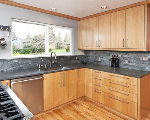 Backsplash Honey Oak Cabinets Houzz
