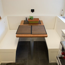 """Eat-in Banquette - - Banquette bench with a two-part assembly and """"keep it simple """" approach"""