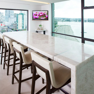 Inspiration For A Mid Sized Modern U Shaped Limestone Floor Eat In Kitchen
