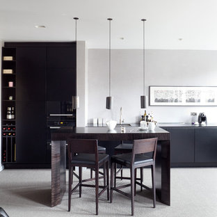 This is an example of a small contemporary kitchen in London.