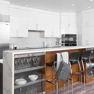 カルガリーの大きい北欧スタイルのおしゃれなキッチン (アンダーカウンターシンク、フラットパネル扉のキャビネット、白いキャビネット、大理石カウンター、白いキッチンパネル、サブウェイタイルのキッチンパネル、シルバーの調理設備の、クッションフロア、グレーの床) の写真