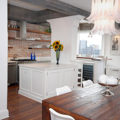 Eclectic eat-in kitchen photo in New York with open cabinets and stainless steel appliances