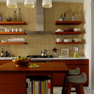 Eclectic kitchen in New York with open cabinets and medium wood cabinets.