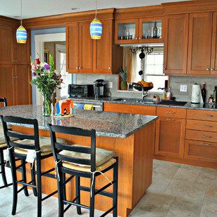 Eclectic Kitchen Backsplash and Floor