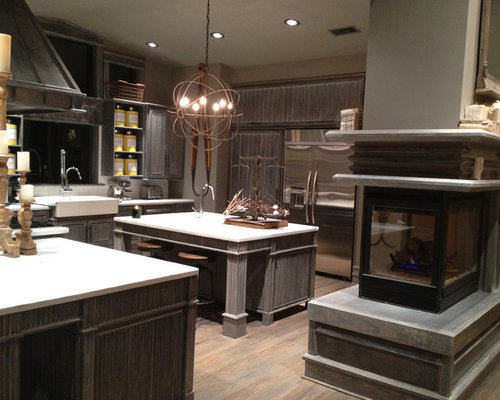 3 Sided Fireplace Kitchen Design Ideas Remodels Amp Photos