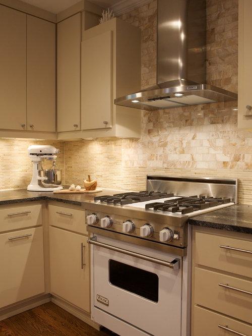 Beige Kitchen Cabinets With White Appliances