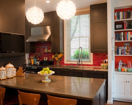 Eclectic philadelphia kitchen design ideas remodel for Red and brown kitchen ideas