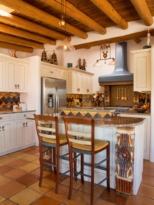 Southwestern Kitchen With White Cabinets Design Ideas