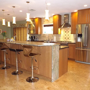 Eclectic Light Brown Kitchen Remodel with waterfall Rainforest Granite Counterto
