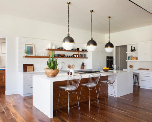 kitchen designs white cabinets. Mid sized midcentury modern open concept kitchen photos  1950s l 25 Best Midcentury Modern Kitchen Ideas Designs Houzz