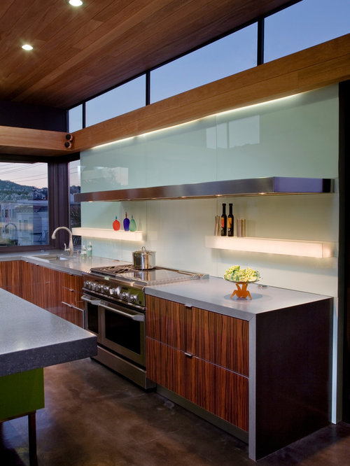 Acrylic backsplash houzz for Long kitchen wall units