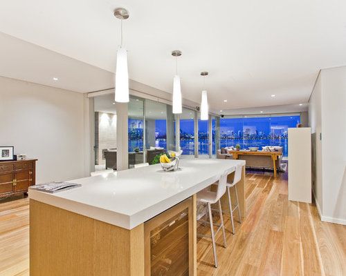 Inspiration For A Contemporary Kitchen In Perth With Flat Panel Cabinets,  White Cabinets,