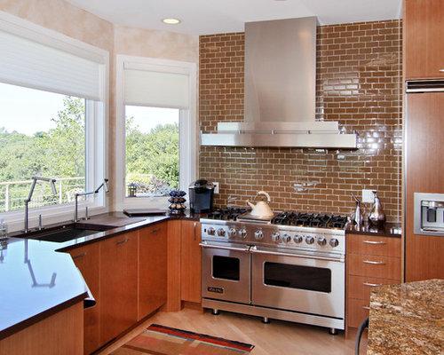 brown subway tile backsplash home design ideas pictures
