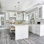 Shaker White Kitchen Fluted Grey Island Beach Style