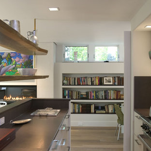 Inspiration for a modern kitchen remodel in Boston with open cabinets and white cabinets