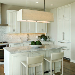 Beau Inspiration For A Contemporary Kitchen Remodel In Minneapolis With Paneled  Appliances And Gray Countertops