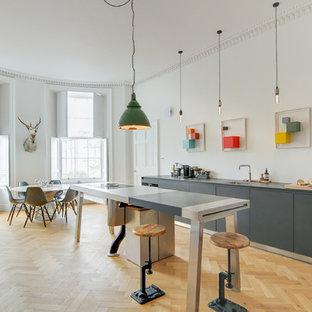 エディンバラの大きいエクレクティックスタイルのおしゃれなキッチン (ラミネートカウンター、グレーのキッチンカウンター、シングルシンク、フラットパネル扉のキャビネット、グレーのキャビネット、淡色無垢フローリング、ベージュの床) の写真