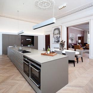 Foto de cocina comedor contemporánea, grande, con armarios con paneles lisos, puertas de armario grises, suelo de madera clara y una isla