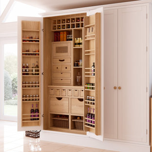 Transitional kitchen pantry photo in Other with shaker cabinets and white cabinets