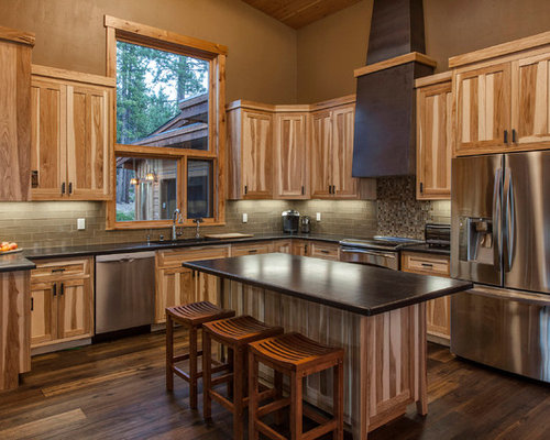 Hickory cabinets houzz Kitchen colors with natural wood cabinets