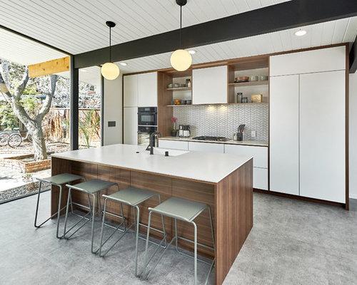 cuisine avec un lectrom nager encastrable et un sol en linol um photos et id es d co de cuisines. Black Bedroom Furniture Sets. Home Design Ideas