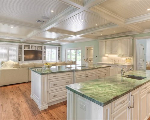 Traditional Open Concept Kitchen Idea In Miami With Raised Panel Cabinets And White Cabinets