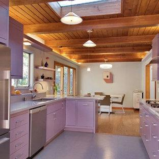 サンフランシスコの中くらいのコンテンポラリースタイルのおしゃれなキッチン (アンダーカウンターシンク、シルバーの調理設備、グレーの床、フラットパネル扉のキャビネット、紫のキャビネット、クオーツストーンカウンター、マルチカラーのキッチンパネル、ガラスタイルのキッチンパネル、紫のキッチンカウンター) の写真