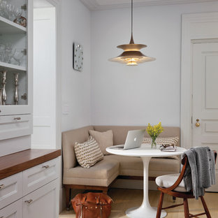 Example Of A Transitional Eat In Kitchen Design In New York With  Recessed Panel