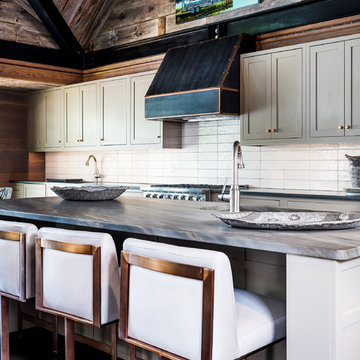 Elegant Brown granite island and counter tops with leathered finish brings a sof