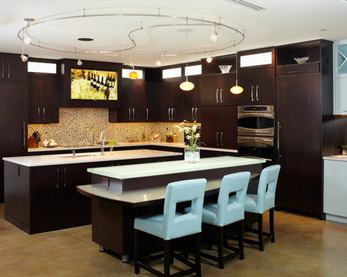 Stained Concrete Step Kitchen Design Ideas Renovations