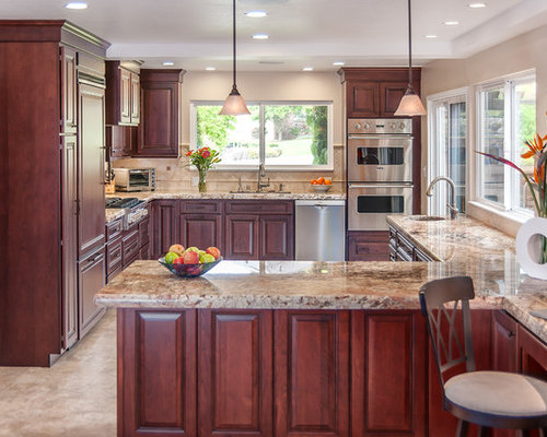Glazed Cherry Cabinet Ideas Pictures Remodel and Decor – Pictures of Kitchens with Cherry Cabinets