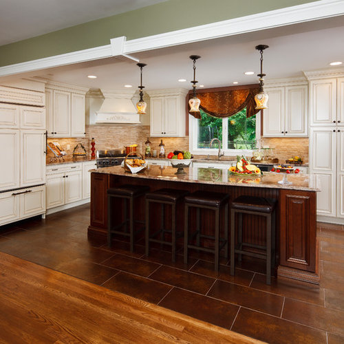 Inspiration for a timeless kitchen remodel in New York with granite  countertops. Dark Tile Floor   Houzz