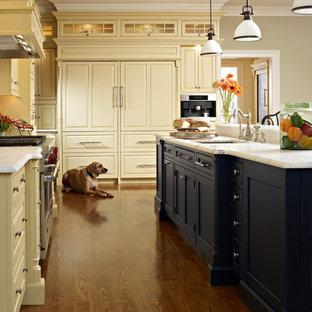 Idee per una cucina chic di medie dimensioni con ante con bugna sagomata, ante beige, elettrodomestici da incasso, lavello sottopiano, top in marmo, pavimento in legno massello medio e isola
