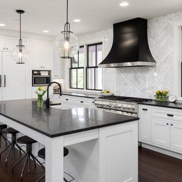 Elegant Modern Black, White and Wood Kitchen and Family Room