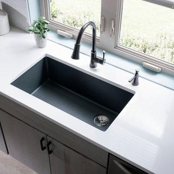"Elkay Quartz Classic 33"" x 18-3/4"" x 9-1/2"", Single Bowl Undermount Sink, Dusk G"