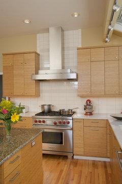 Kitchen - maple cabinets, carrera-look marble granite ... on Modern Kitchen Backsplash With Maple Cabinets  id=25119