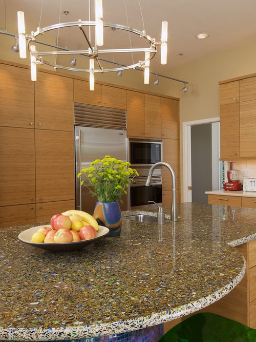 Recycled glass concrete countertops houzz for Curava countertops