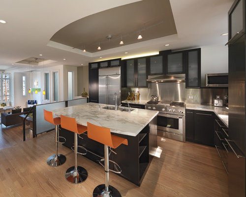 Trendy Kitchen Photo In San Francisco With Glass Front Cabinets, Stainless  Steel Appliances And