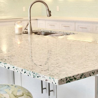 Emerald Coast Vetrazzo Beachy Kitchen Design