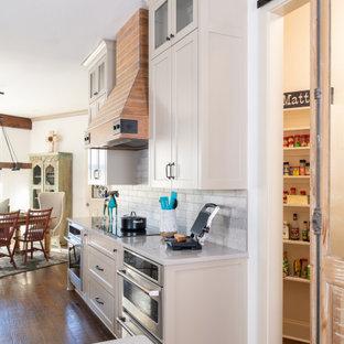Modelo de cocina comedor clásica renovada, grande, con armarios estilo shaker, puertas de armario con efecto envejecido, encimera de cuarcita, salpicadero verde, salpicadero de azulejos de cerámica, electrodomésticos de acero inoxidable, suelo de madera oscura, una isla y suelo marrón