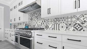 Encaustic tile look porcelain backsplash