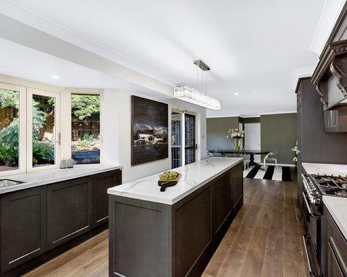 Midcentury Modern Open Concept Kitchen Designs   1960s Galley Vinyl Floor  Open Concept Kitchen Photo In