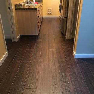 シアトルの小さいトランジショナルスタイルのおしゃれなキッチン (茶色い床、アンダーカウンターシンク、フラットパネル扉のキャビネット、淡色木目調キャビネット、シルバーの調理設備、竹フローリング、アイランドなし) の写真